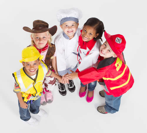 kids in worker costumes