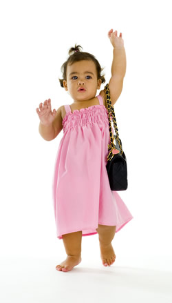 Toddler with purse